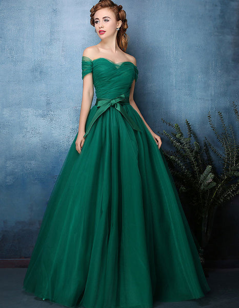 Forest green off shoulder tulle ball gown formal dress for Forest green wedding dress
