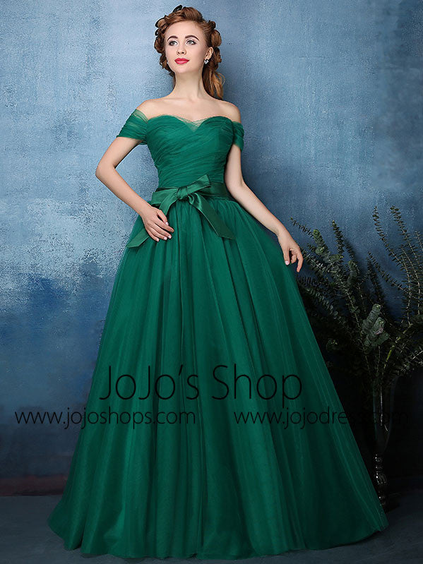 22c20ffc9f Forest Green Off Shoulder Tulle Ball Gown Formal Dress