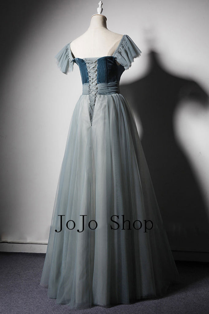 Gray Blue Velvet Formal Prom Dress ET3011