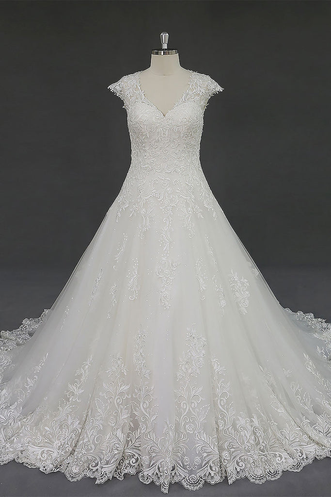 Full A-line Lace Wedding Dress With Cap Sleeves