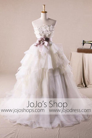 Strapless Floral Organza Debutante Ball Gown Wedding Dress