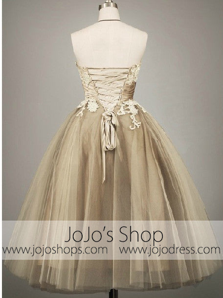 Retro 50s Tea Length Strapless Lace Tulle Formal Prom Dress