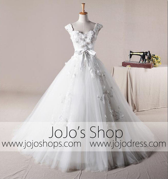 Cap Sleeves Floral Princess Debutante Ball Gown Dress