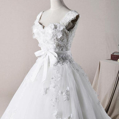 Cap Sleeves Floral Princess Debutante Ball Gown Wedding Dress