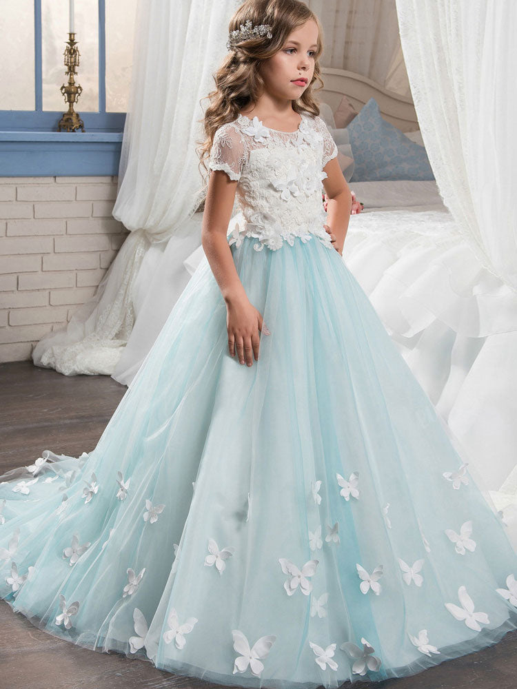 Girls Champagne Sleeveless Formal Ball Gown