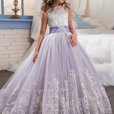 Purple Girls Princess Ball Gown Party Dress Birthday Dress