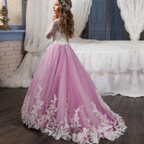 Girls Princess Ball Gown Party Dress Birthday Dress with Long Sleeves