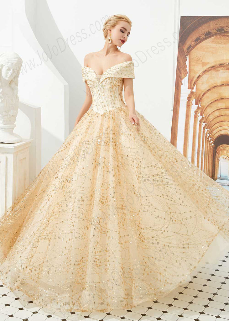 Gold Off the Shoulder Ball Gown Prom Formal Dress