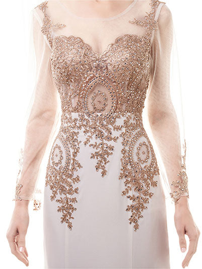 Long Sleeves Gold Lace Formal Evening Dress
