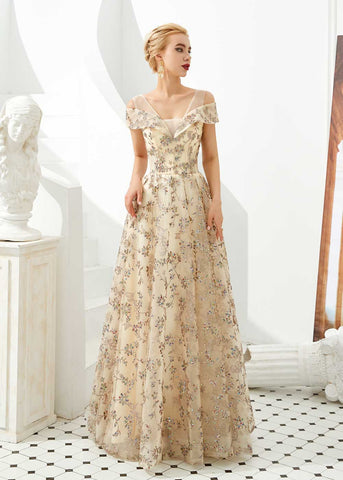Gold Lace Prom Formal Evening Dress