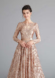 A-line Gold Shimmery Sequin Home Coming Dress