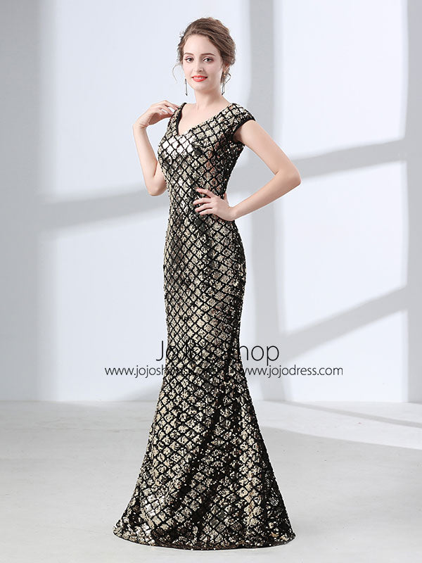 Elegant Gold Sequins Formal Prom Pagaent Evening Dress