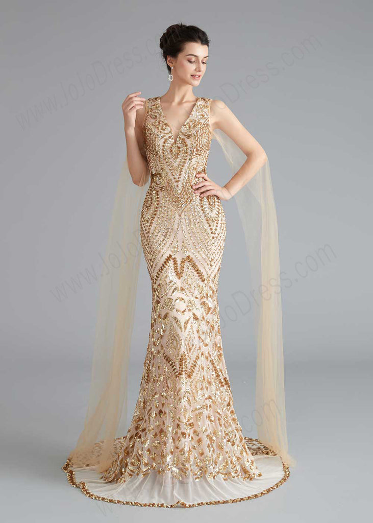 Gold Sequin Shimmery Pageant Prom Dress