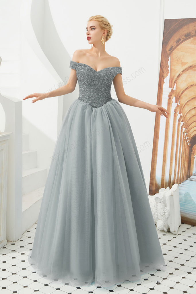 gray ball gown prom dress with off the shoulder neckline