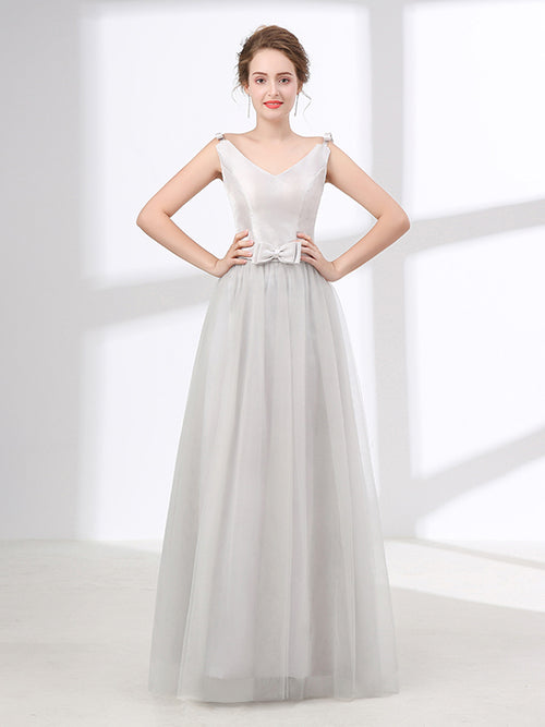 Gray Tulle Formal Prom Evening Dress