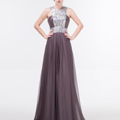 Elegant Gray Long Formal Prom Evening Dress