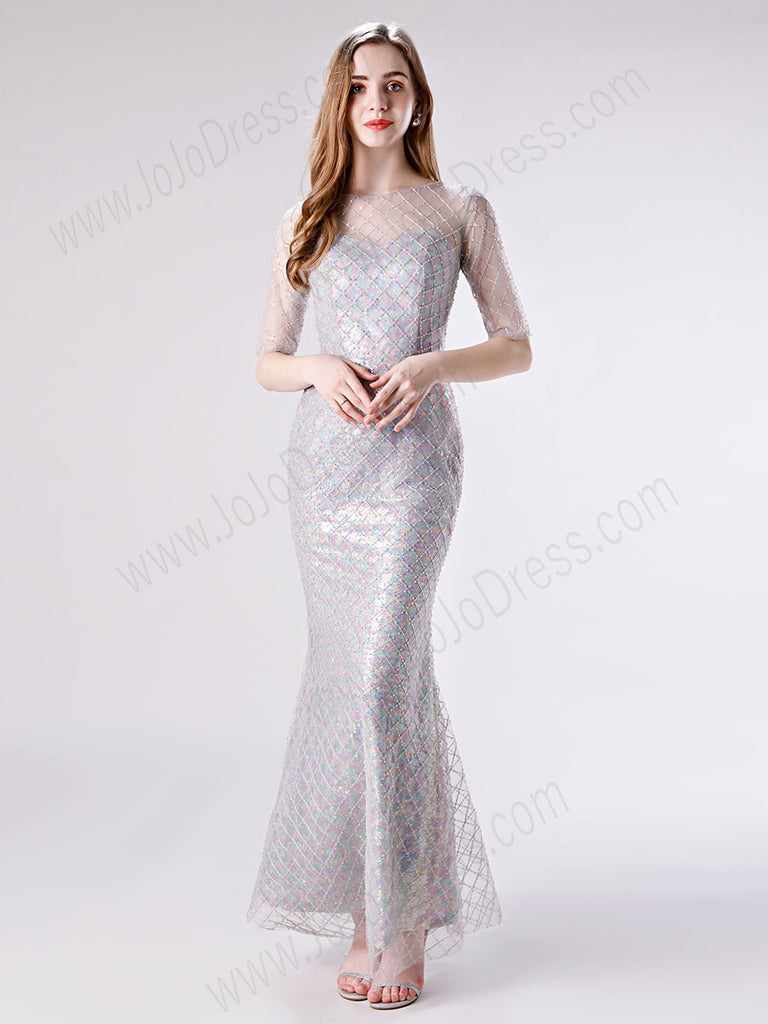 Gray Sparkly Graduation Formal Dress