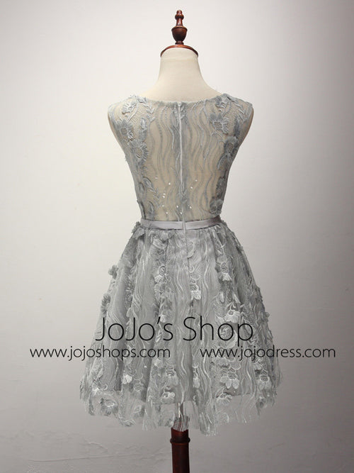 Gray Lace Short Cocktail Dress