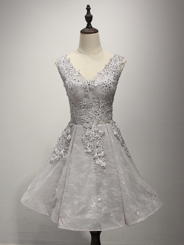 Short Gray Lace Cocktail Prom Dress