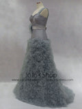 Elegant Gray One Shoulder Ruffles Long Prom Formal Evening Dress
