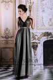 Grecian Black Shimmery V Neck Long Formal Prom Evening Dress | DQ831270