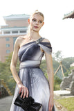 Grecian Black and White One Shoulder Prom Dress SA80236