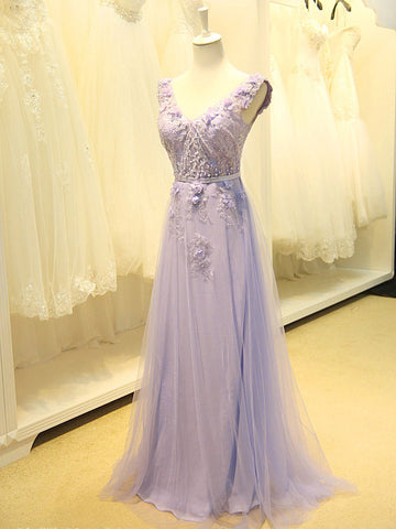 Grecian V Neck Lavender Floral Formal Prom Dress