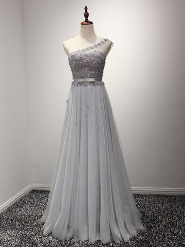 Gray One Shoulder Grecian Prom Formal Dress with Daisy Flower