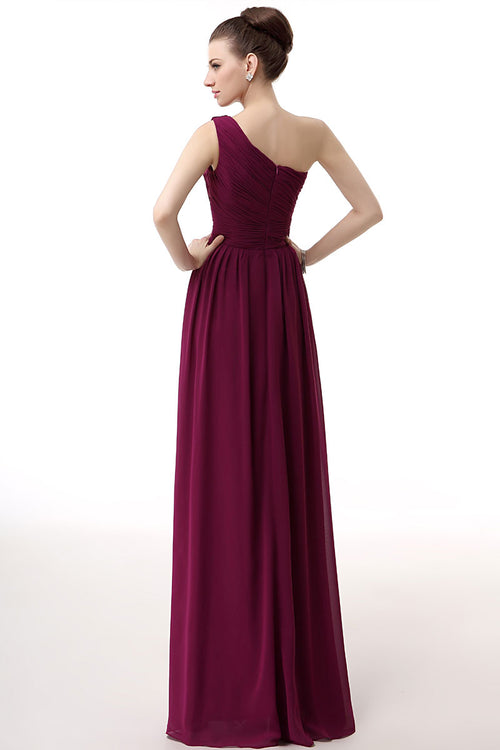 Purple Grecian One Shoulder Formal Dress