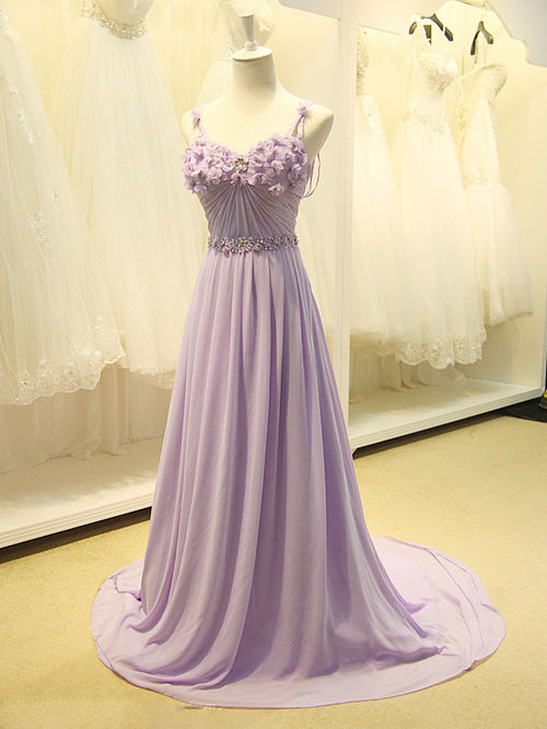 Long Violet Chiffon Formal Prom Evening Dress