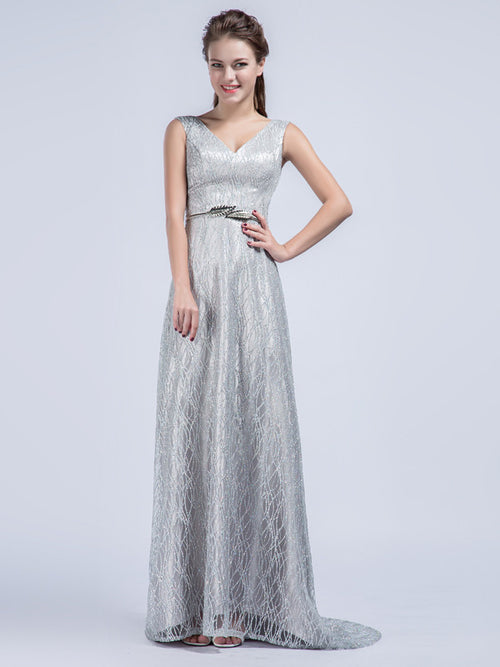 f2bc8d5fe79f Elegant Grecian Gray Lace Formal Prom Dress with V Neck