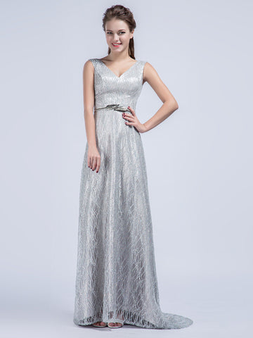 Elegant Grecian Gray Lace Formal Prom Dress with V Neck