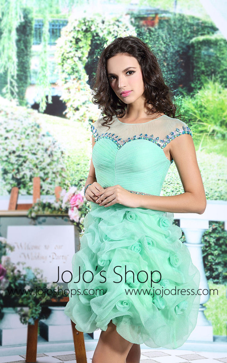Green Chic Rosette Cocktail Prom Sweet Sixteen Semi Prom Dress | DQ86115