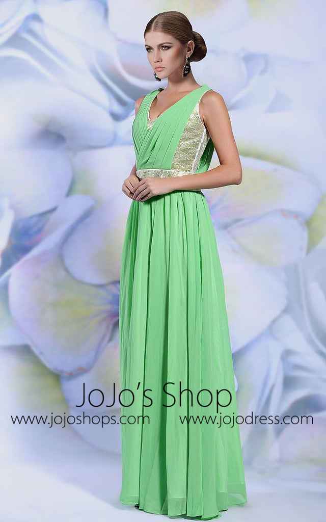 Green Grecian Chiffon Long Formal Evening Prom Formal Dress | DQ831251