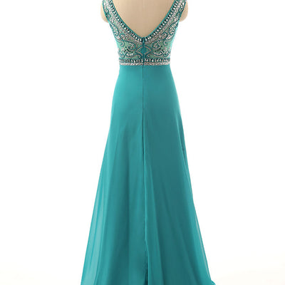 Green Jeweled Formal Evening Prom Formal Dress