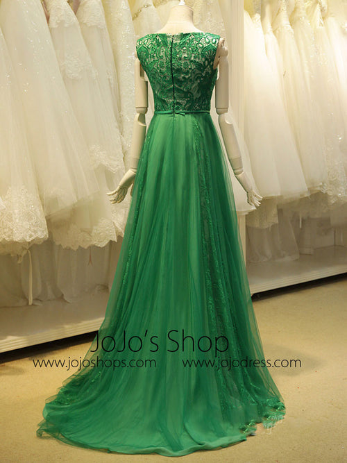 Modest Green Long Lace Formal Evening Dress
