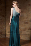 Vintage Hollywood One Shoulder Teal Green Formal Prom Evening Dress | CX882160