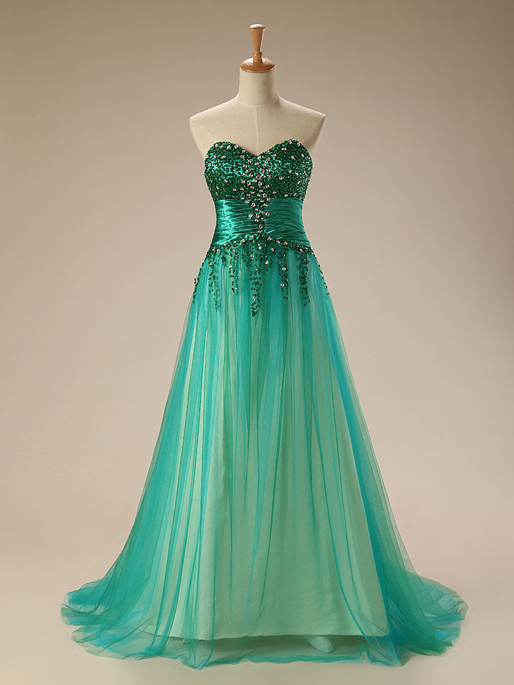 Strapless Green Sparkly Formal Prom Home Coming Evening Gown