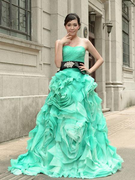 Green Strapless Prom Performance Formal Evening Dress with Ruffle Rosette Skirt