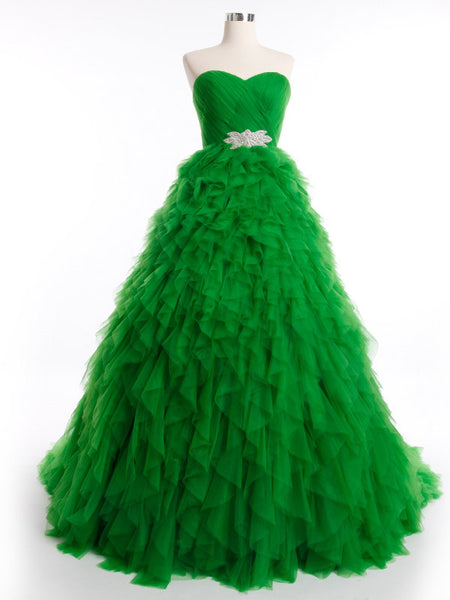 Green Strapless Ball Gown Tulle Ball Gown with Ruffle Skirt | RS3012