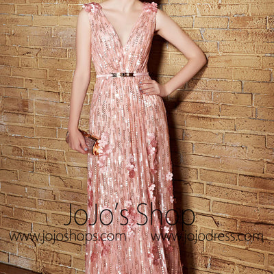 Grecian V Neck Shimmery Pink Formal Beauty Pageant Homecoming Evening Dress | CX830856