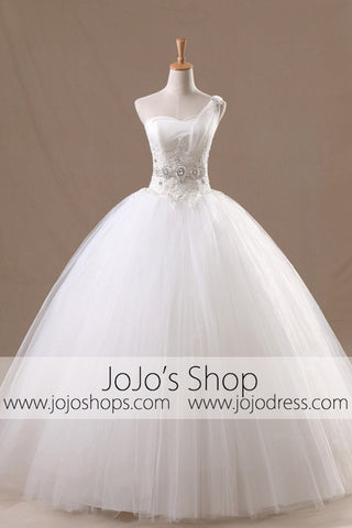 One Shoulder Wedding Dress | Princess Wedding Dress | Debutante Ball Gown