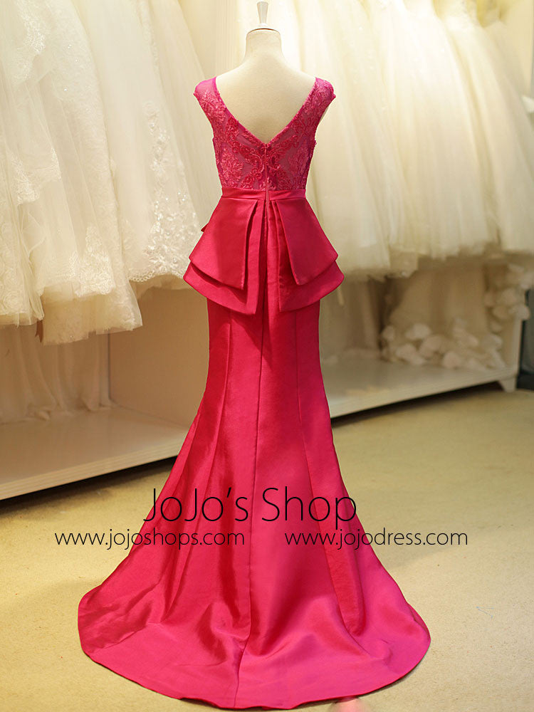 Fuschia Pink Elegant Mermaid Formal Evening Dress