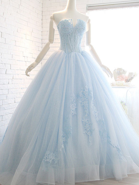 Powder Blue Ball Gown Lace Formal Evening Dress – JoJo Shop