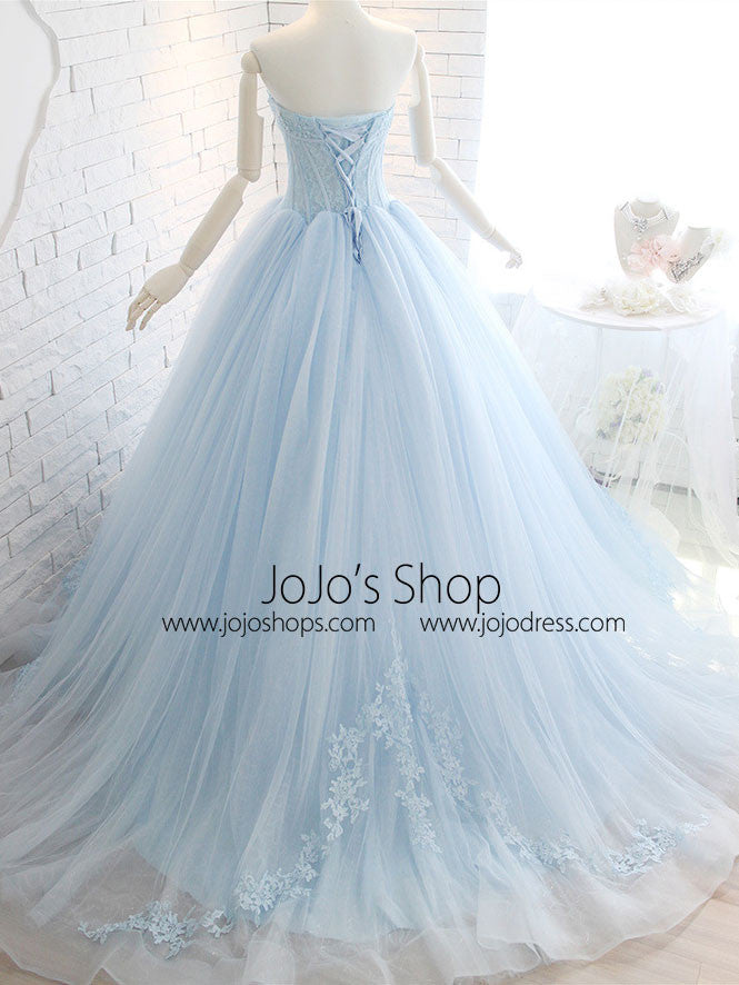 Powder Blue Ball Gown Lace Formal Evening Dress