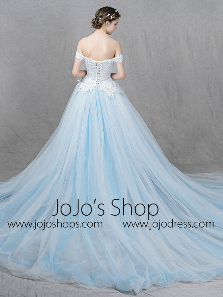 Ice Blue Ball Gown Formal Dress with Off Shoulder Straps