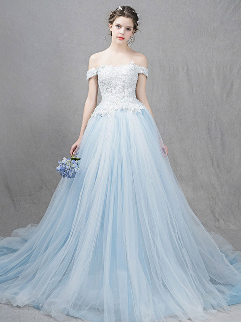 Ice Blue Ball Gown Formal Dress with Off Shoulder Straps – JoJo Shop