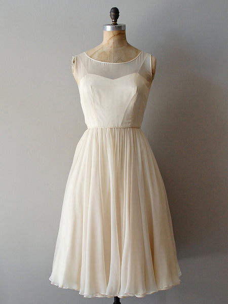 Retro Short Chiffon Wedding Reception Dress | DV3019