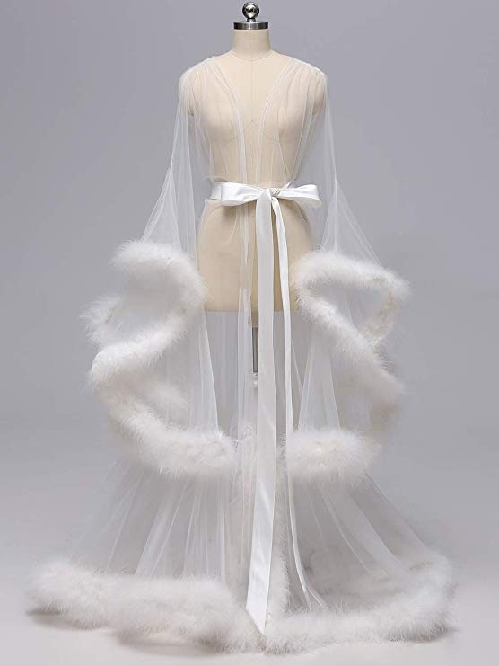 Ivory Long Marabou Fur Edge Robe RB1331