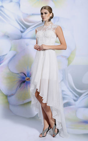 Ivory Lace Hi Low Chiffon Formal Evening Prom Dress | DQ86118